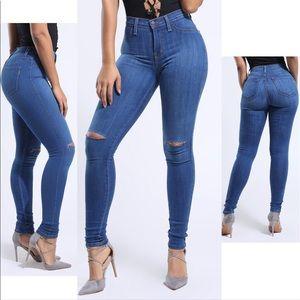 Denim - High rise ripped knee skinny jeans
